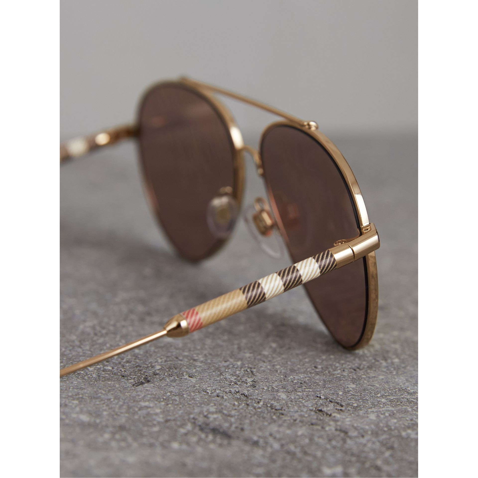 Check Detail Mirrored Pilot Sunglasses in Rose Gold - Women | Burberry United Kingdom - gallery image 1
