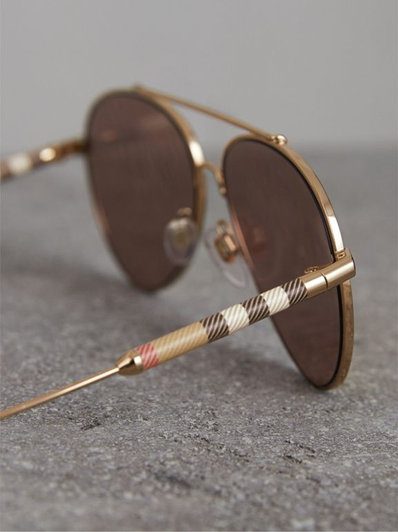 Check Detail Mirrored Pilot Sunglasses in Rose Gold - Women | Burberry - cell image 1