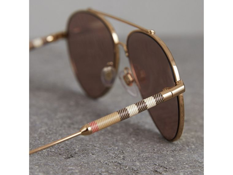 Check Detail Mirrored Pilot Sunglasses in Rose Gold - Women | Burberry Canada - cell image 1