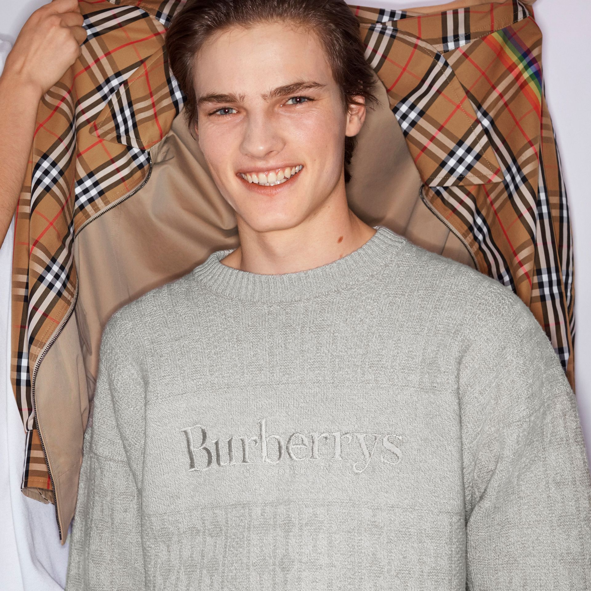 Reissued Lambswool Cotton Sweater in Light Grey Melange - Men | Burberry Singapore - gallery image 4