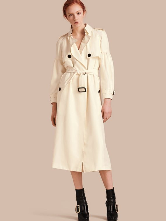 Oversize Silk Trench Coat with Puff Sleeves Parchment
