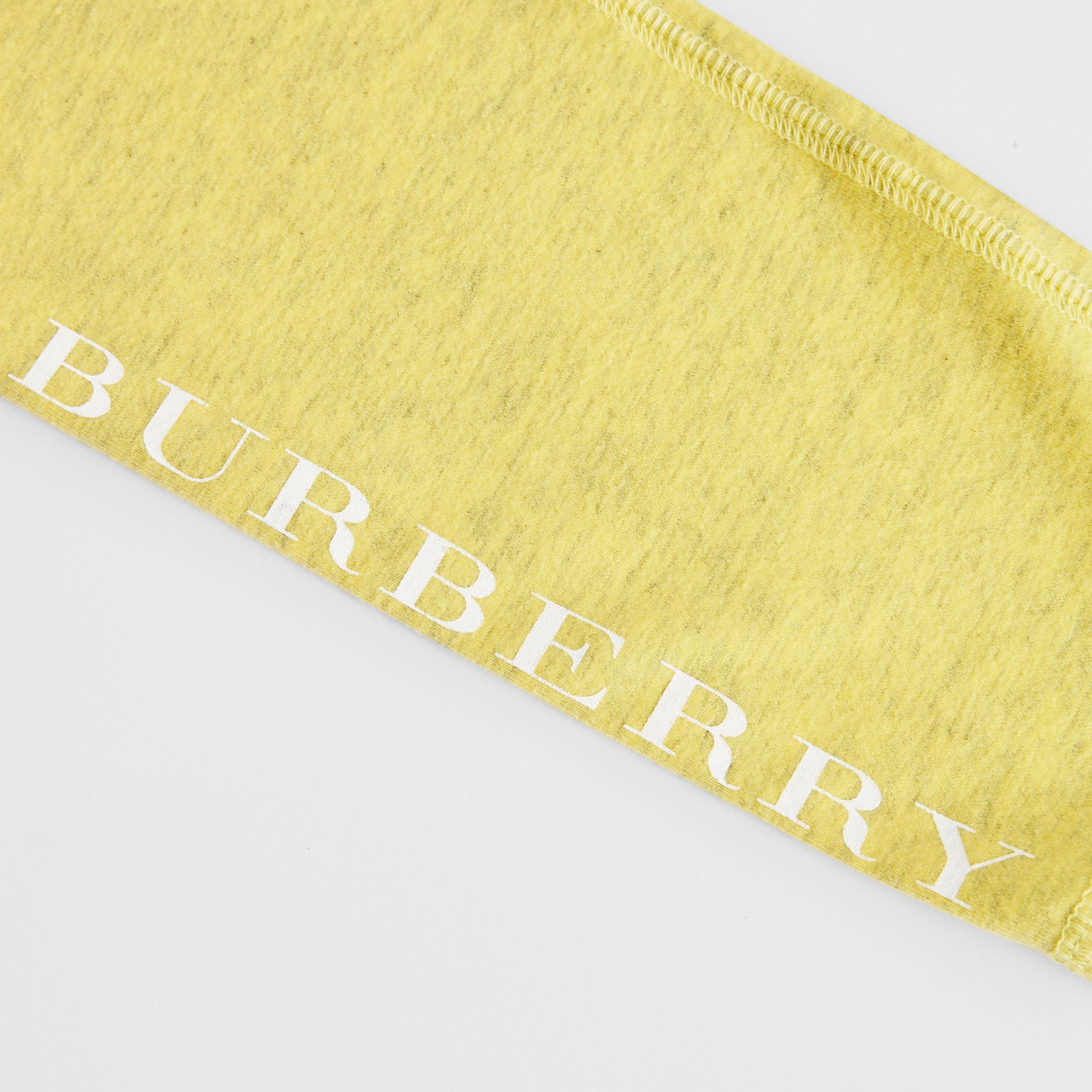 Logo Print Stretch Cotton Leggings in Citrus Yellow | Burberry Singapore - gallery image 1