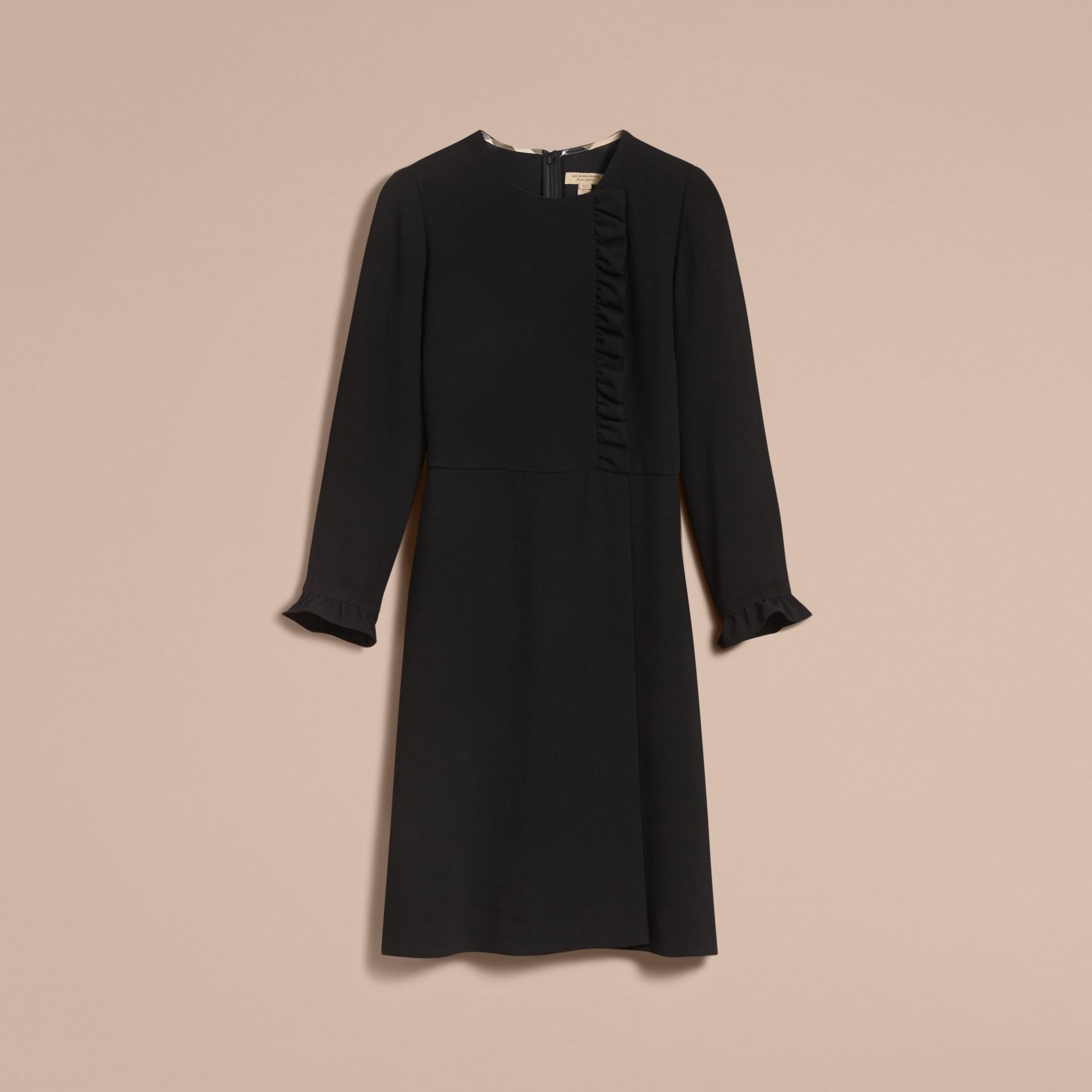 Ruffle Trim Crepe Dress - gallery image 4