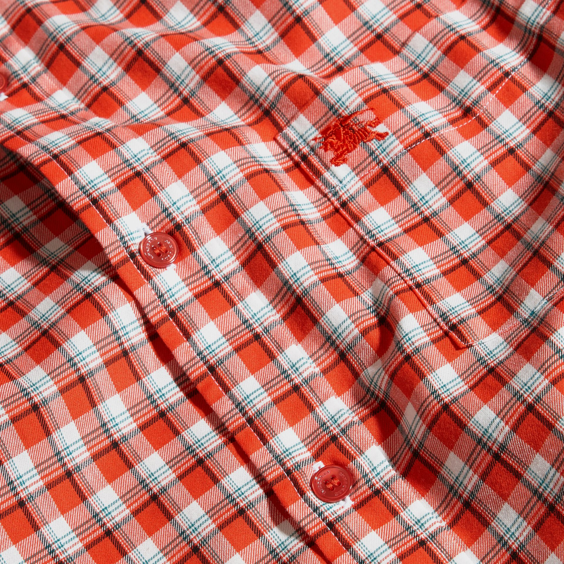 Parade red Gingham Check Cotton Twill Shirt Parade Red - gallery image 2