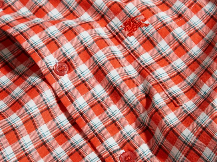 Parade red Gingham Check Cotton Twill Shirt Parade Red - cell image 1