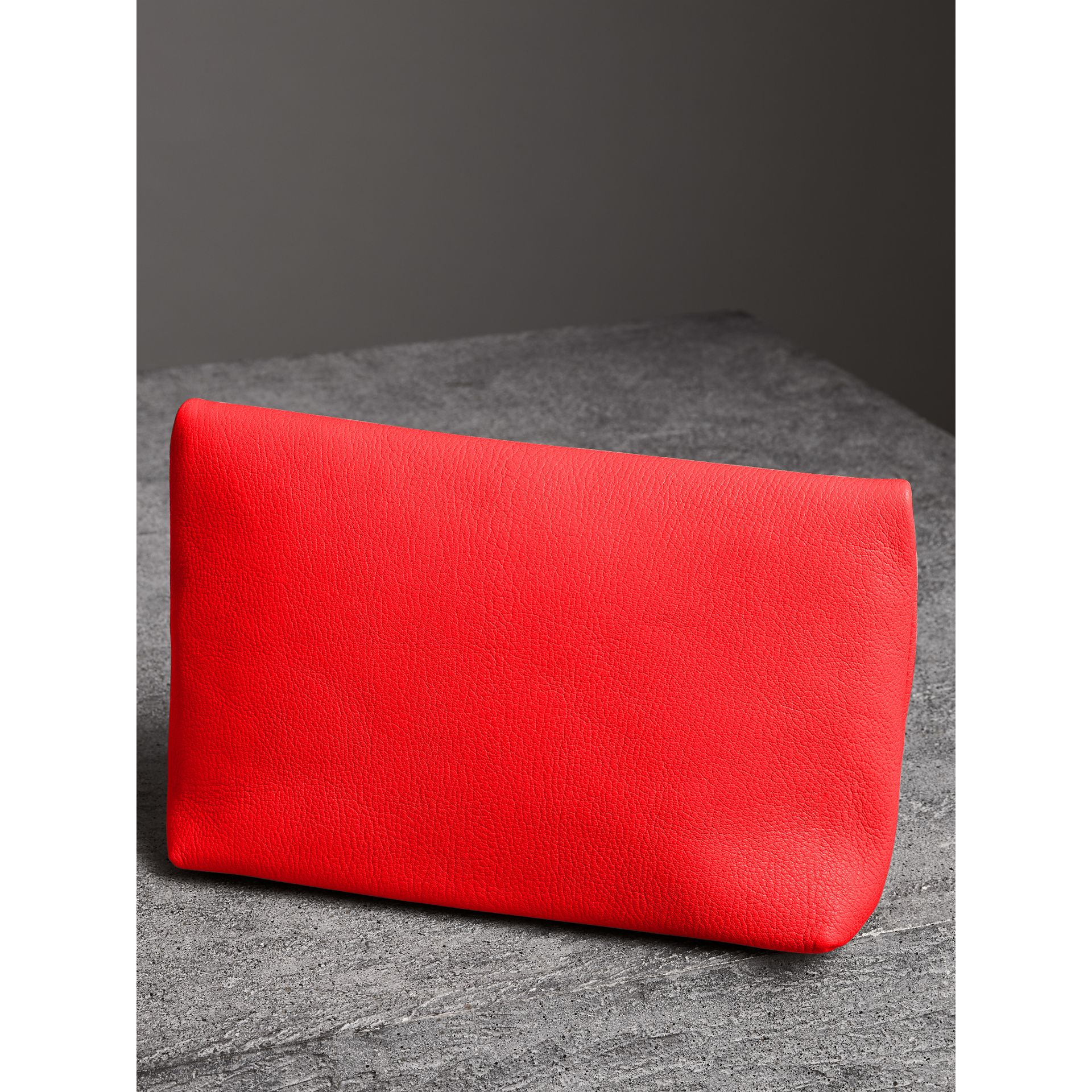 The Medium Pin Clutch in Leather in Bright Red - Women | Burberry Singapore - gallery image 4
