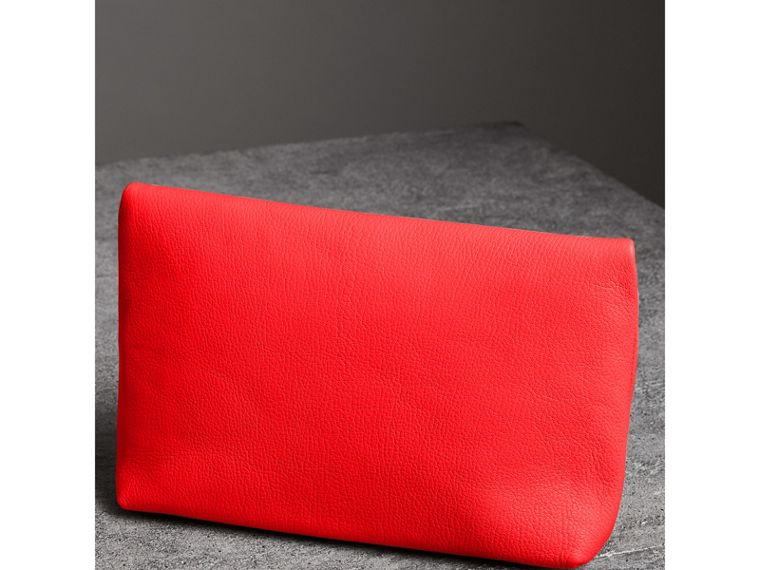 The Medium Pin Clutch in Leather in Bright Red - Women | Burberry United Kingdom - cell image 4