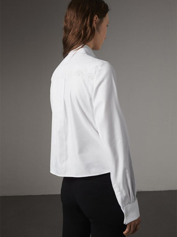 Scalloped Tier Embellished Cotton Shirt in White - Women | Burberry - cell image 2