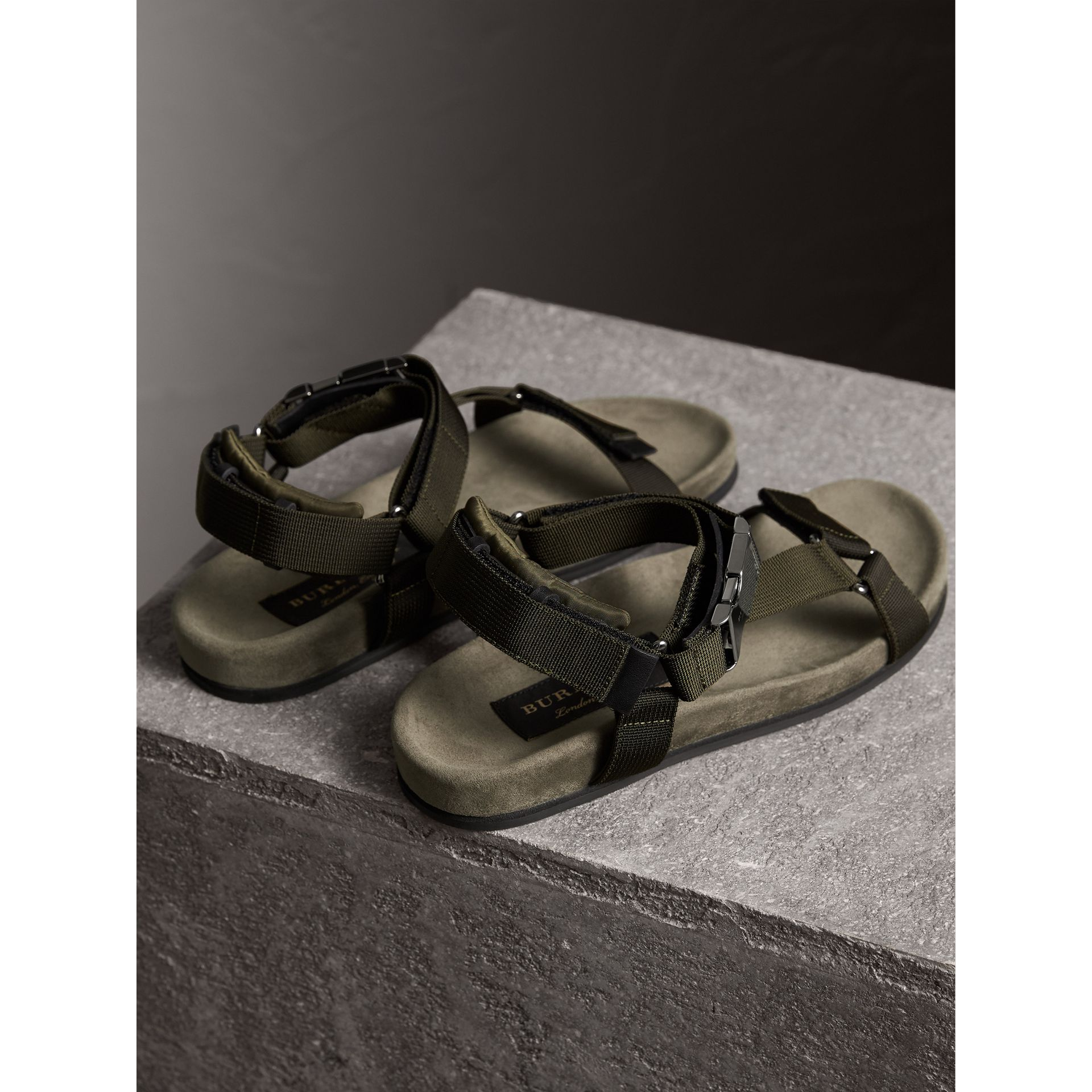 Three-point Strap Ripstop Sandals in Khaki - Men | Burberry - gallery image 4