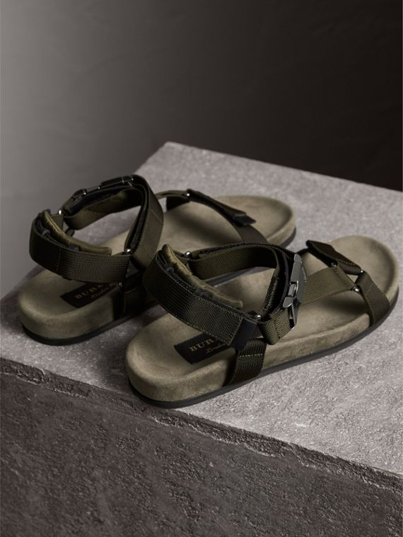 Three-point Strap Ripstop Sandals in Khaki - Men | Burberry - cell image 3