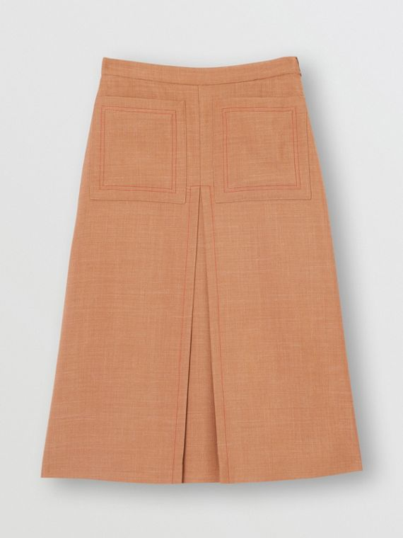 Topstitch Detail Wool Silk Mohair Linen A-line Skirt in Bronze