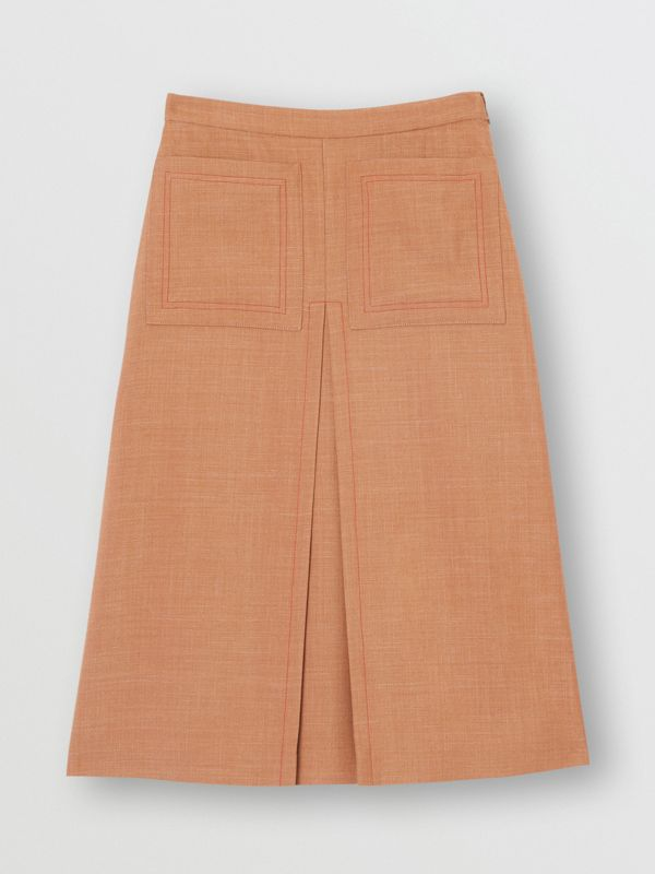 Topstitch Detail Wool Silk Mohair Linen A-line Skirt in Bronze - Women | Burberry - cell image 3