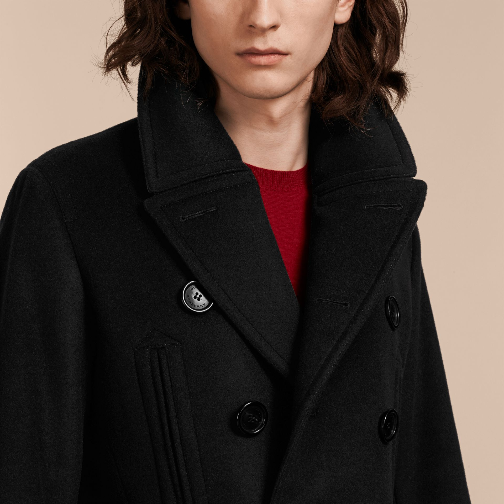Wool Cashmere Pea Coat in Black - gallery image 6