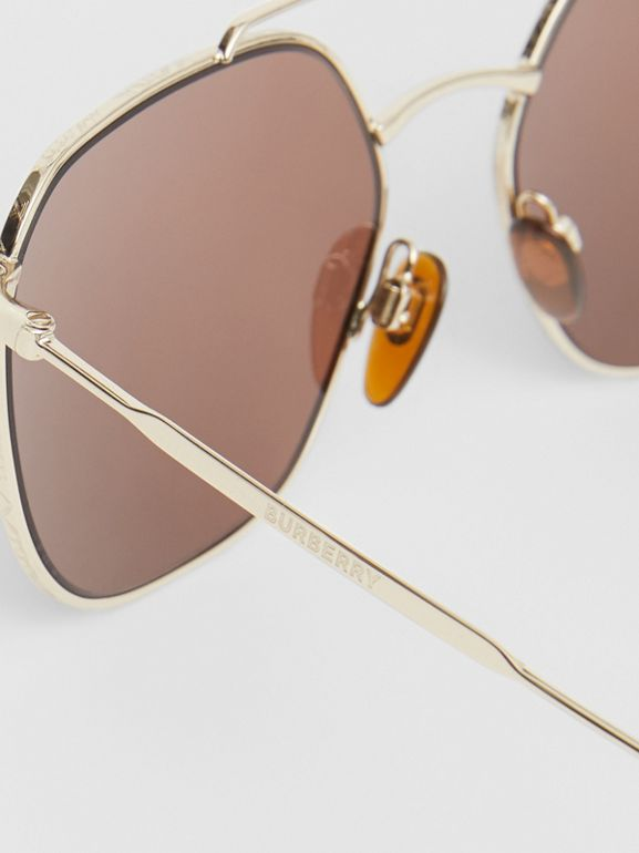 Vintage Check Detail Square Pilot Sunglasses in Yellow Gold - Men | Burberry - cell image 1