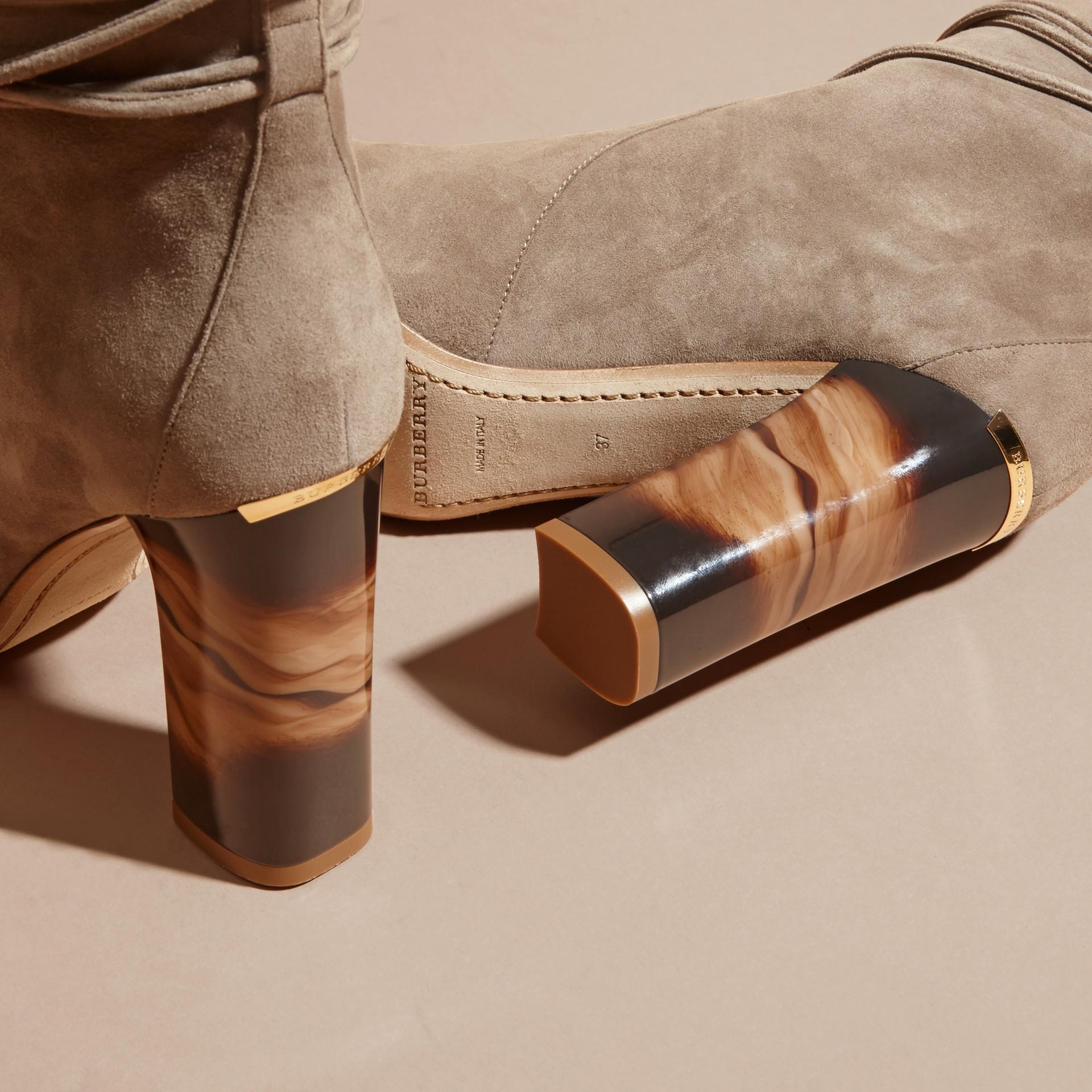 Dark heather melange Tasselled Suede Pull-on Boots - gallery image 5