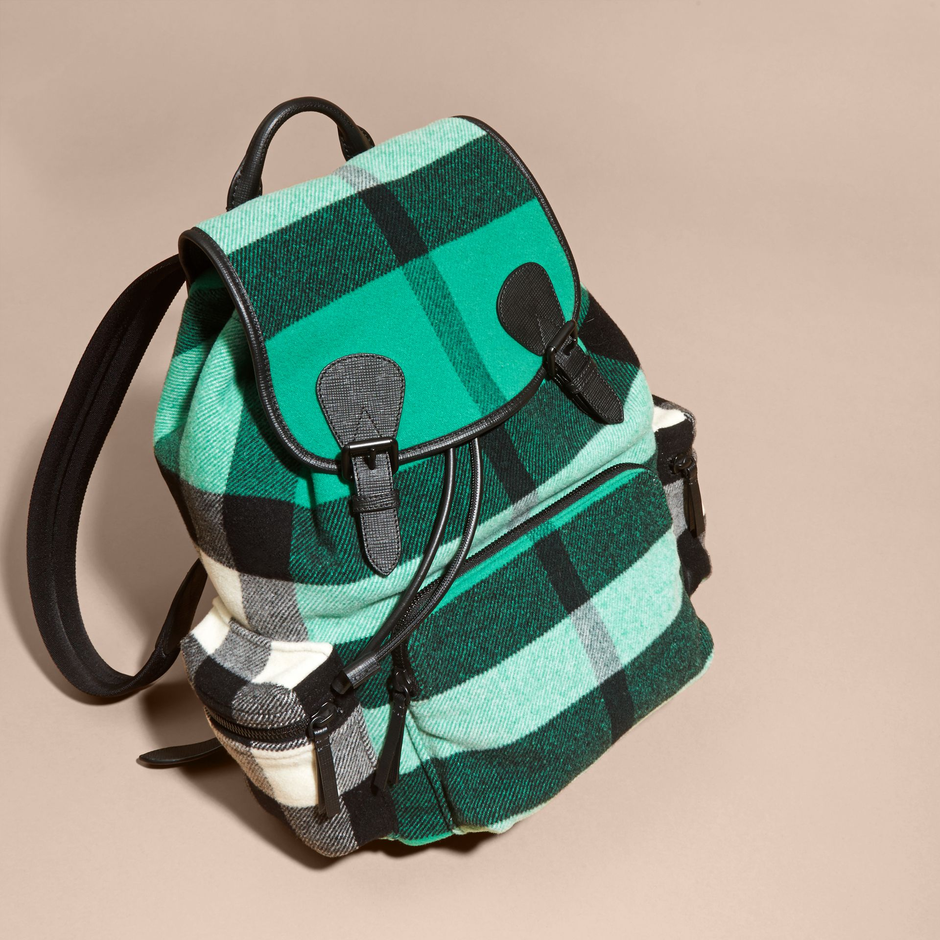 Emerald The Large Rucksack in Check Wool Blend and Leather Emerald - gallery image 8