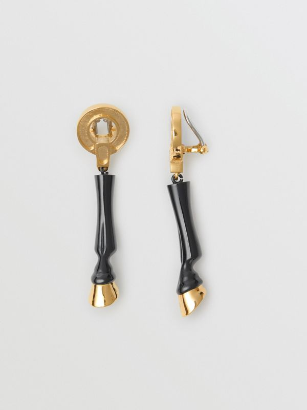 Resin and Gold-plated Hoof Drop Earrings in Black/light - Women | Burberry Australia - cell image 3
