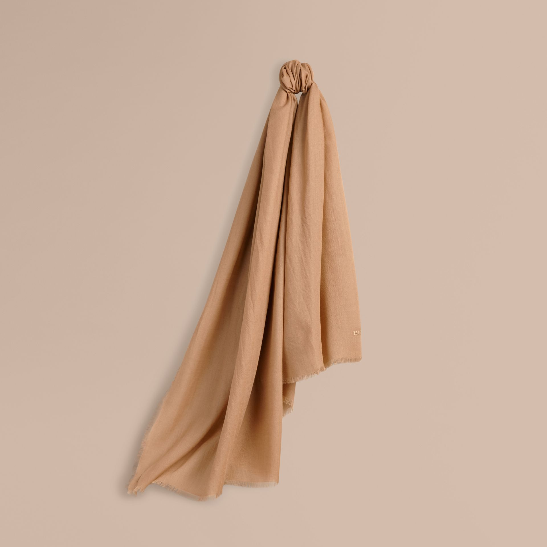 The Lightweight Cashmere Scarf in Camel - gallery image 6