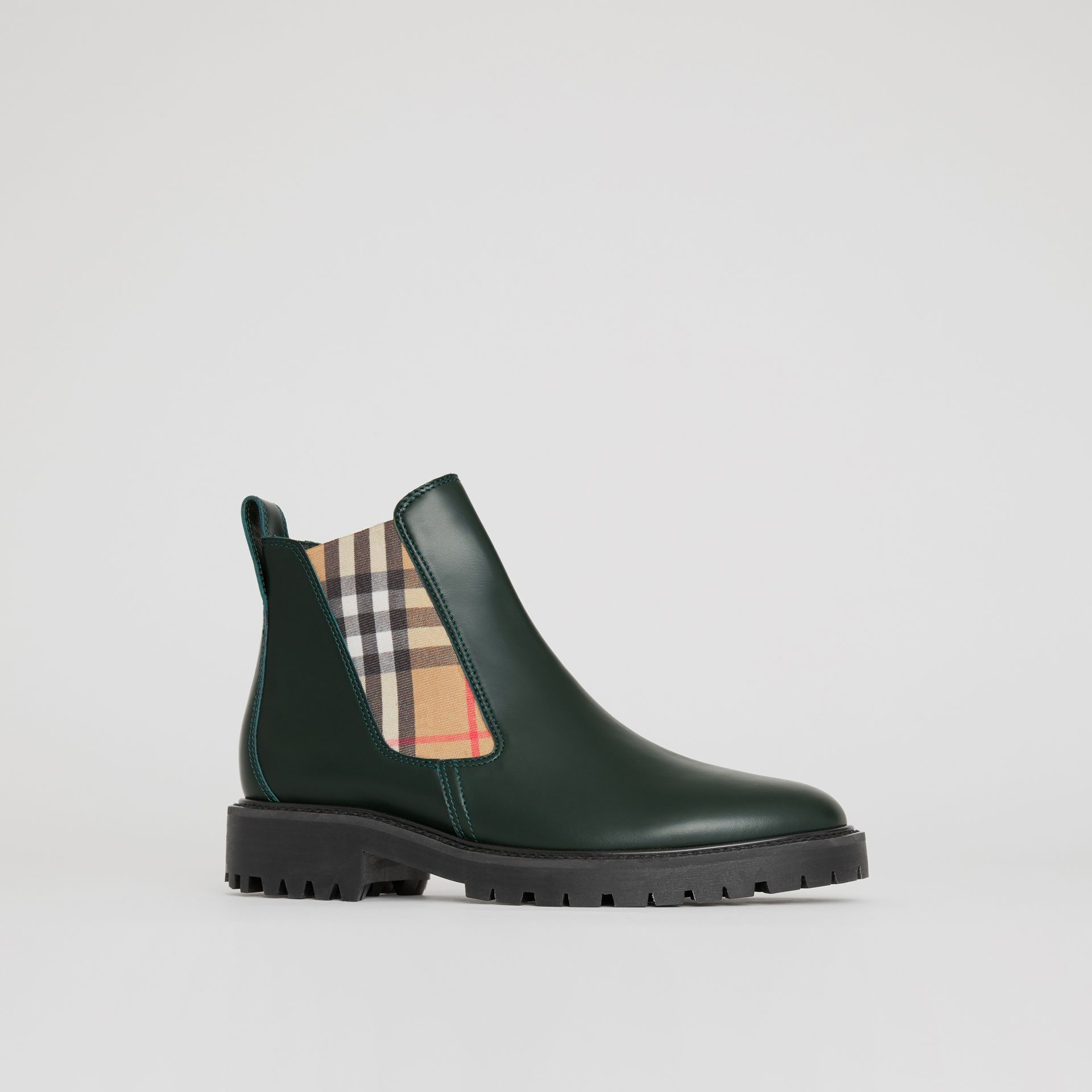 Vintage Check Detail Leather Chelsea Boots in Bottle Green - Women | Burberry - gallery image 5