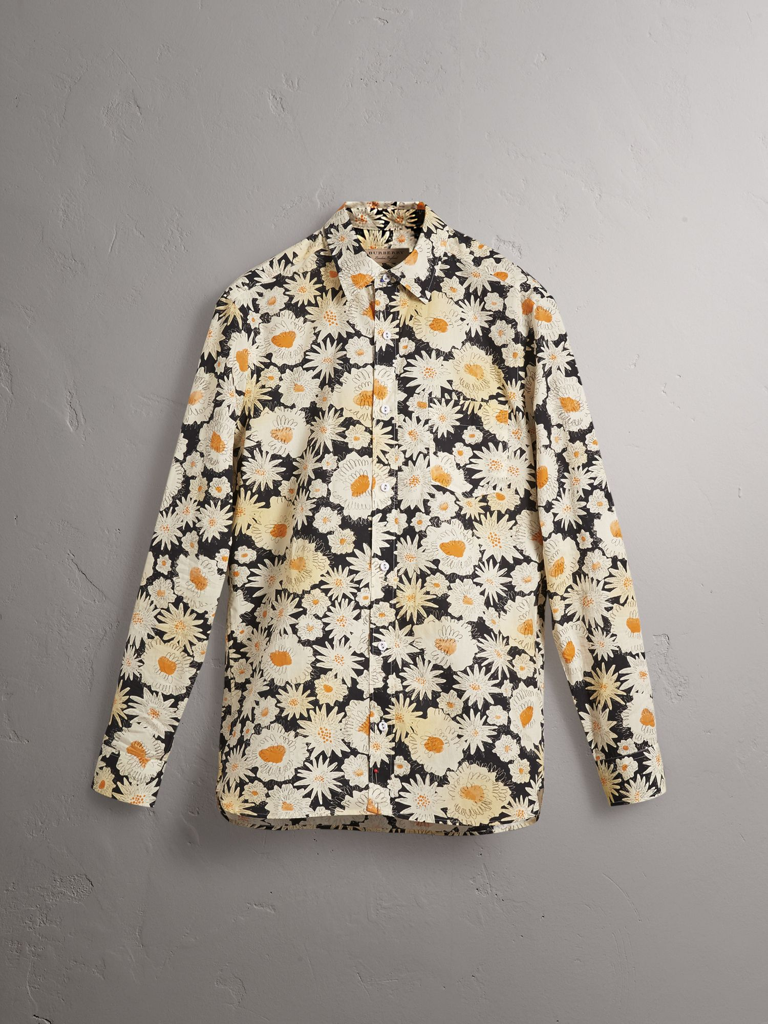 Daisy Print Cotton Shirt in Black