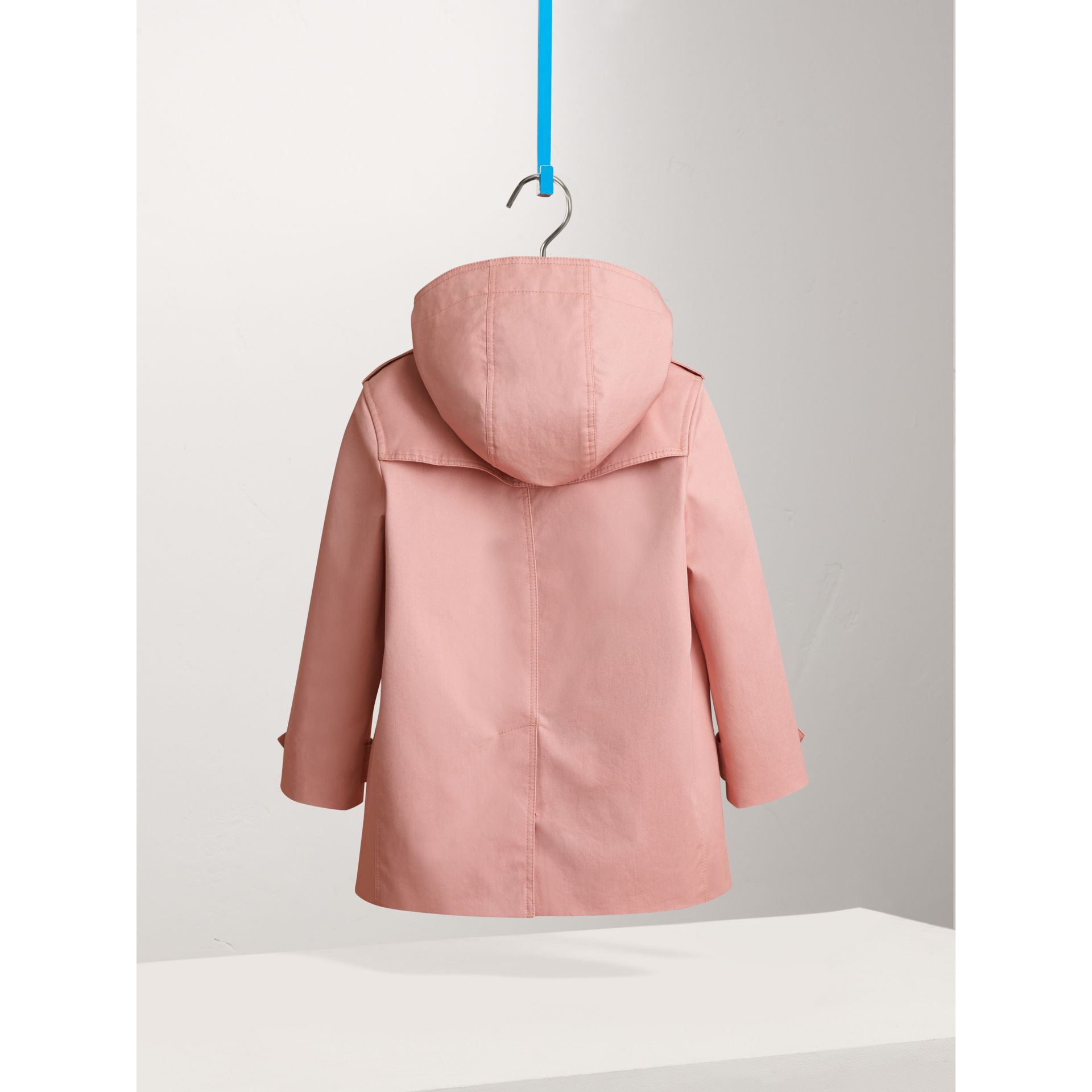 Detachable Hood Cotton Trench Coat in Pale Rose - Girl | Burberry - gallery image 3