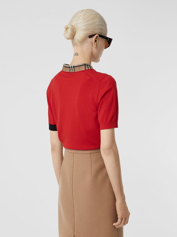 Vintage Check Trim Merino Wool Polo Shirt in Bright Red - Women | Burberry United Kingdom - cell image 2