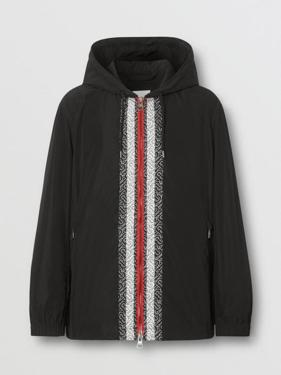 Monogram Stripe Panel Shape-memory Taffeta Jacket in Black