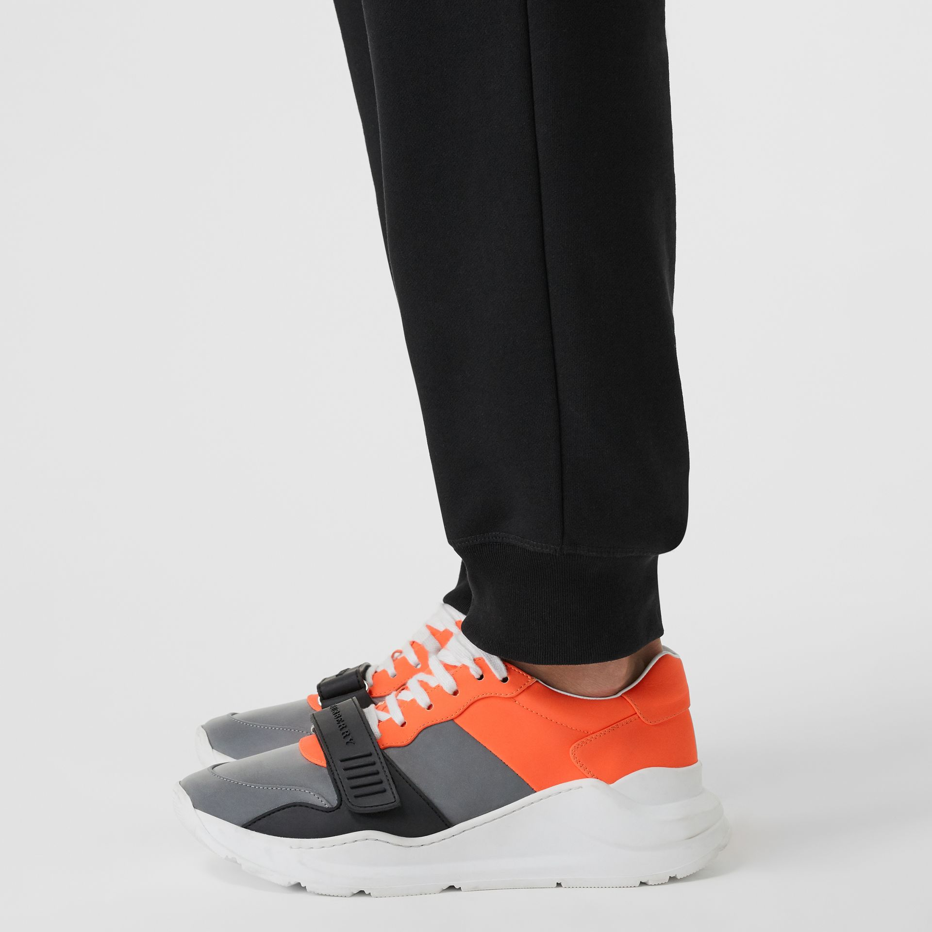 Colour Block Sneakers in Silver Grey/orange - Men | Burberry - gallery image 2