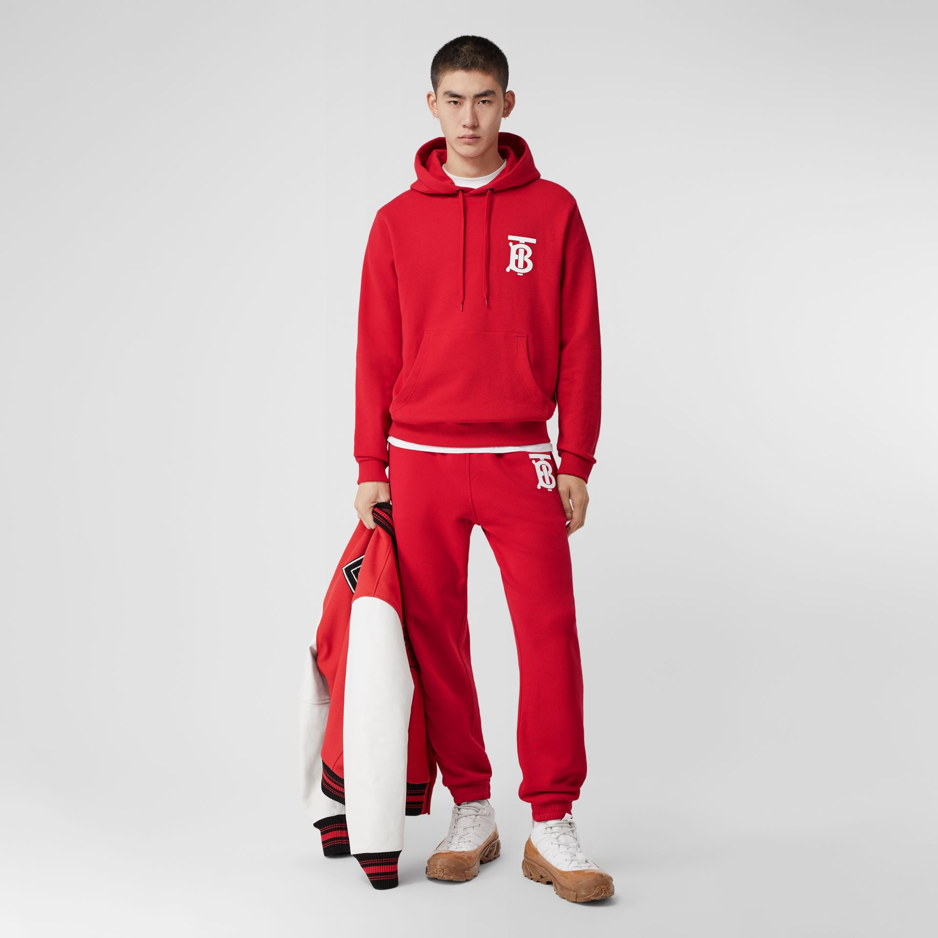 Monogram Motif Cotton Hoodie in Bright Red - Men | Burberry Hong Kong S.A.R - gallery image 0