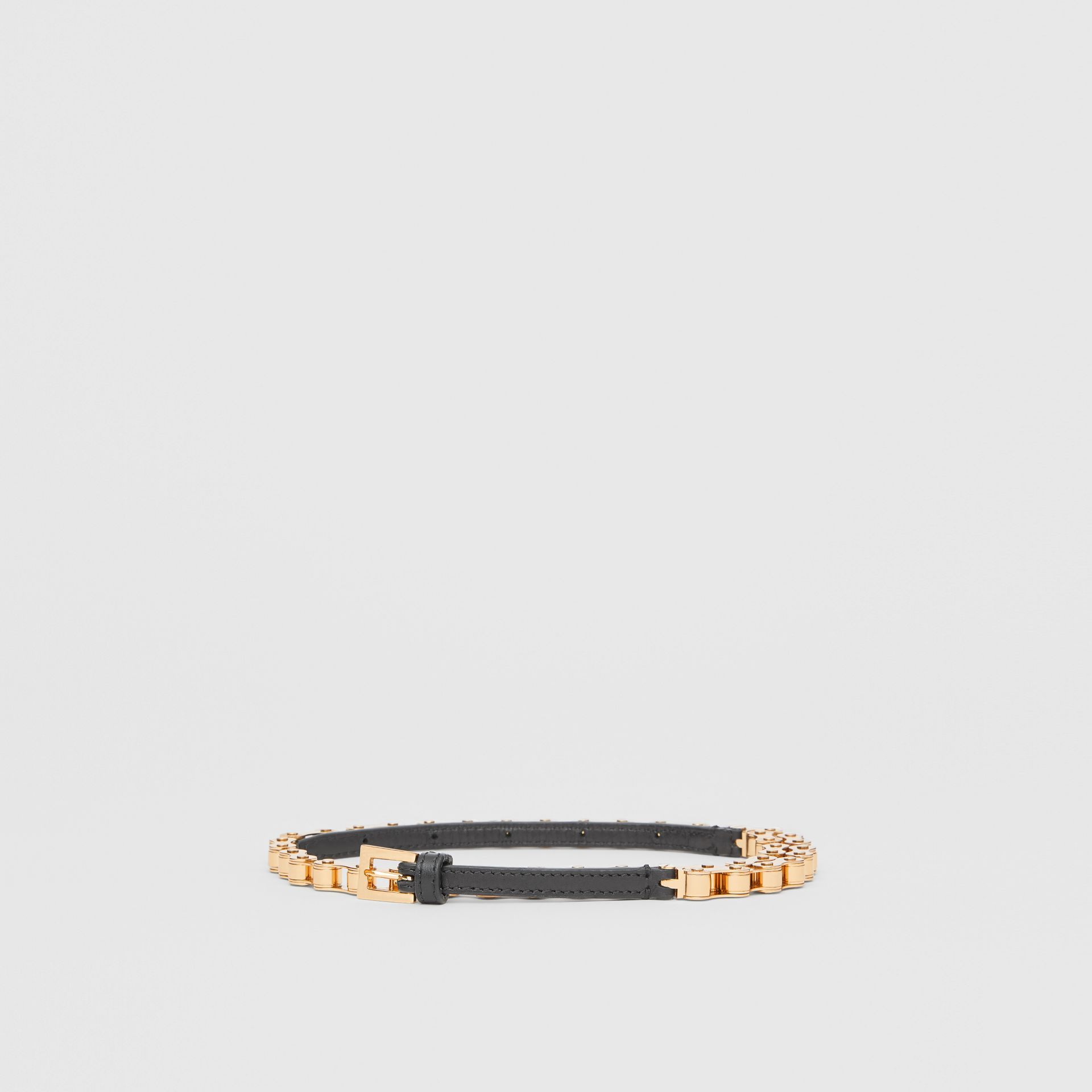 Leather and Bicycle Chain Belt in Black - Women | Burberry United Kingdom - gallery image 2