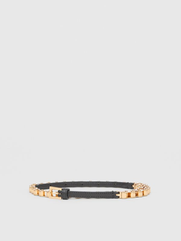 Leather and Bicycle Chain Belt in Black - Women | Burberry United Kingdom - cell image 2