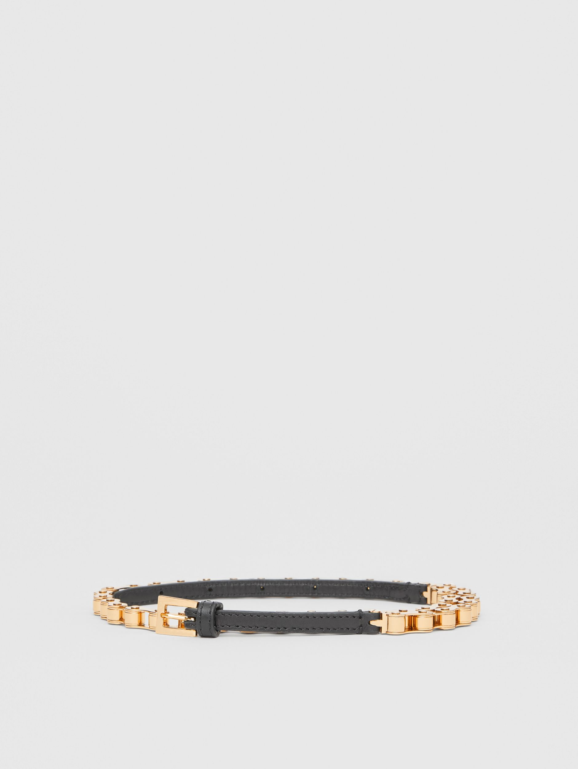 Leather and Bicycle Chain Belt in Black - Women | Burberry - 3