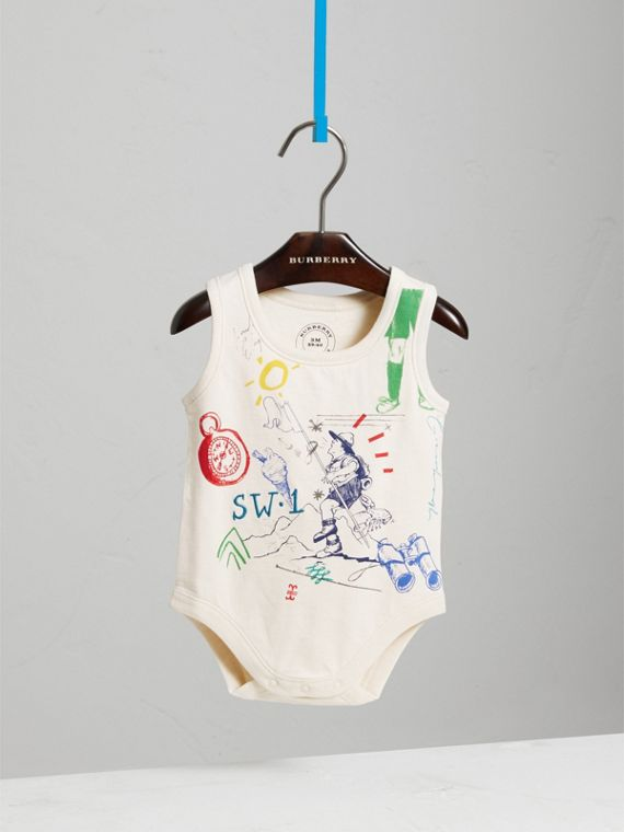 Adventure Motif Cotton Jersey Bodysuit in Natural White