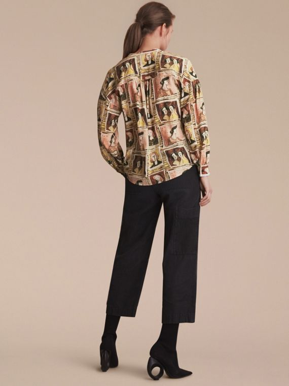 Framed Heads and Reclining Figures Print Silk Shirt in Umber Brown - Women | Burberry - cell image 2