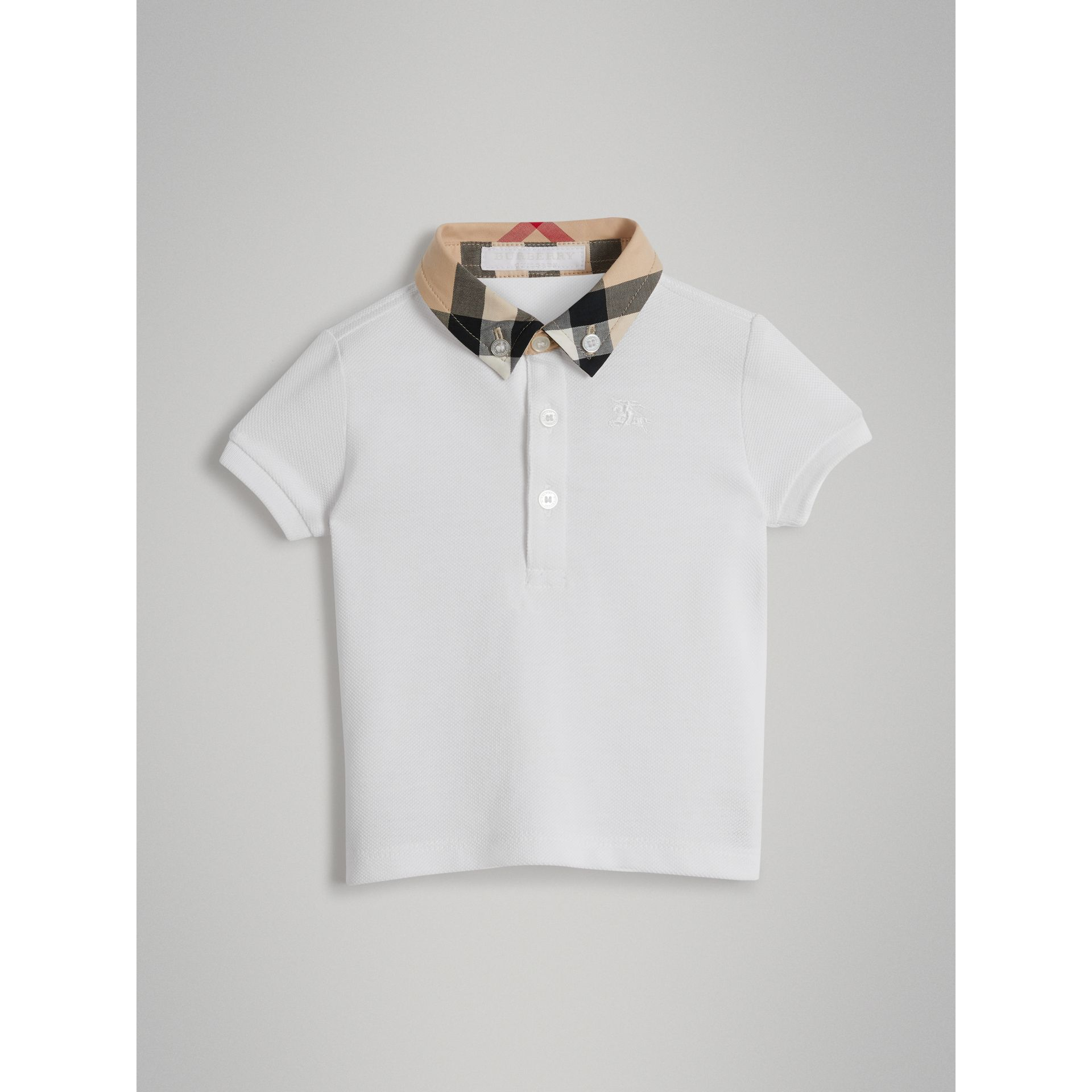 Check Collar Cotton Polo Shirt in White - Children | Burberry Australia - gallery image 0