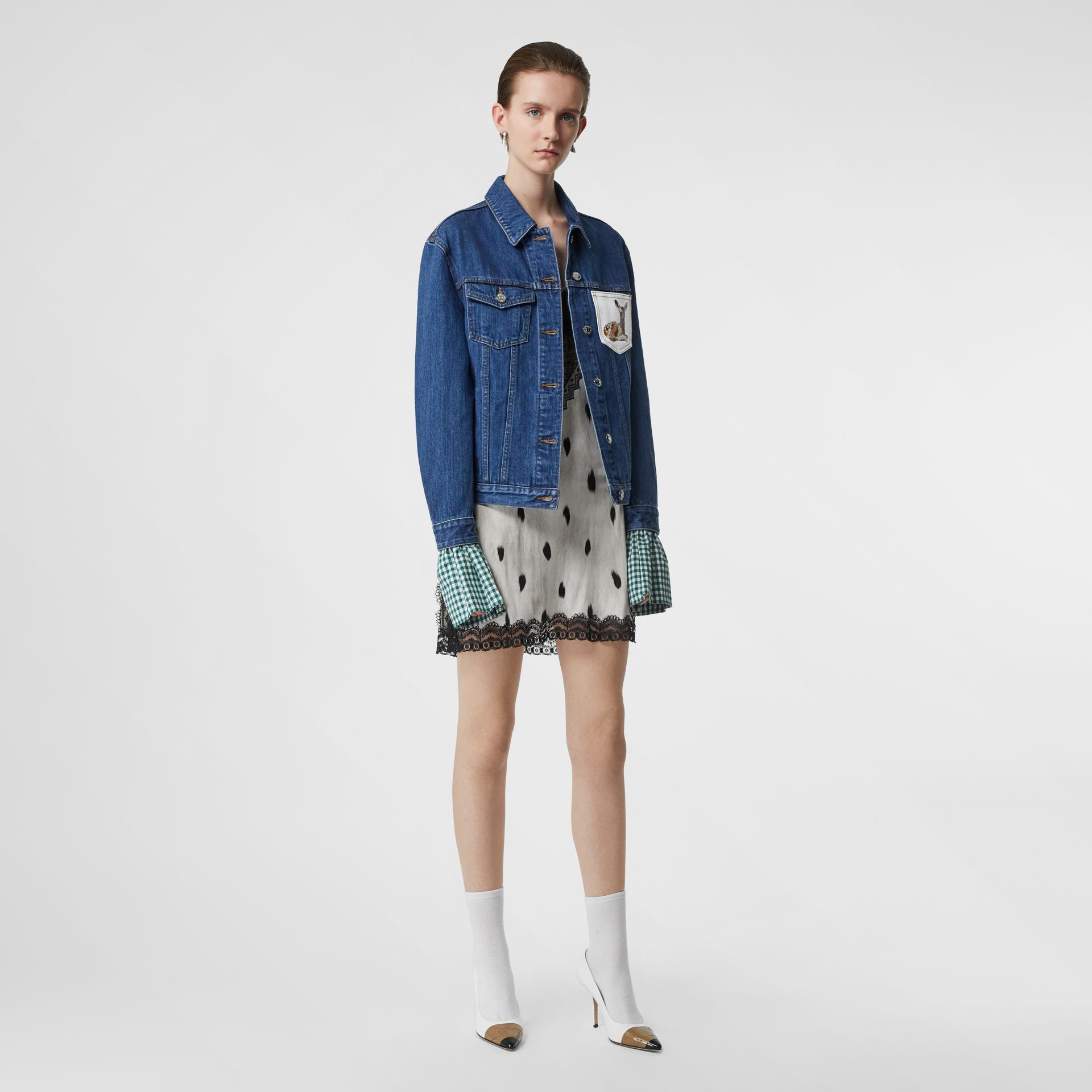Deer Motif Japanese Denim Jacket in Mid Blue - Women | Burberry - gallery image 5