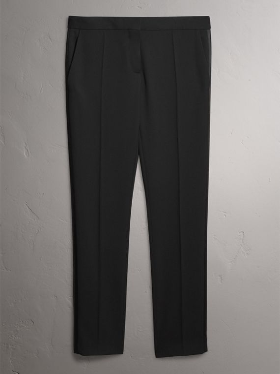 Wool Tailored Trousers in Black - Women | Burberry Hong Kong - cell image 3