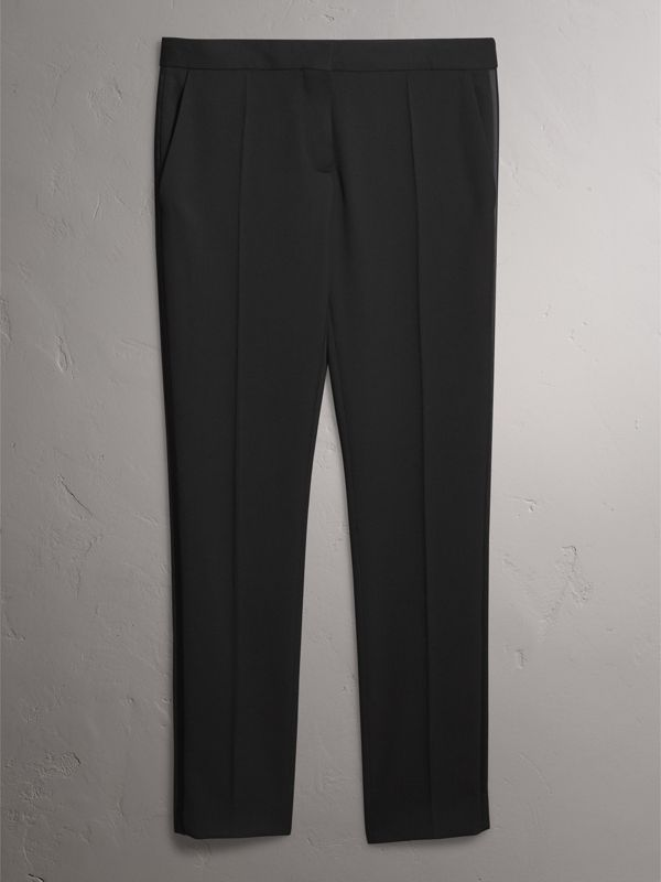 Wool Tailored Trousers in Black - Women | Burberry - cell image 3