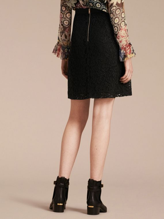 Black A-Line Lace Skirt - cell image 2