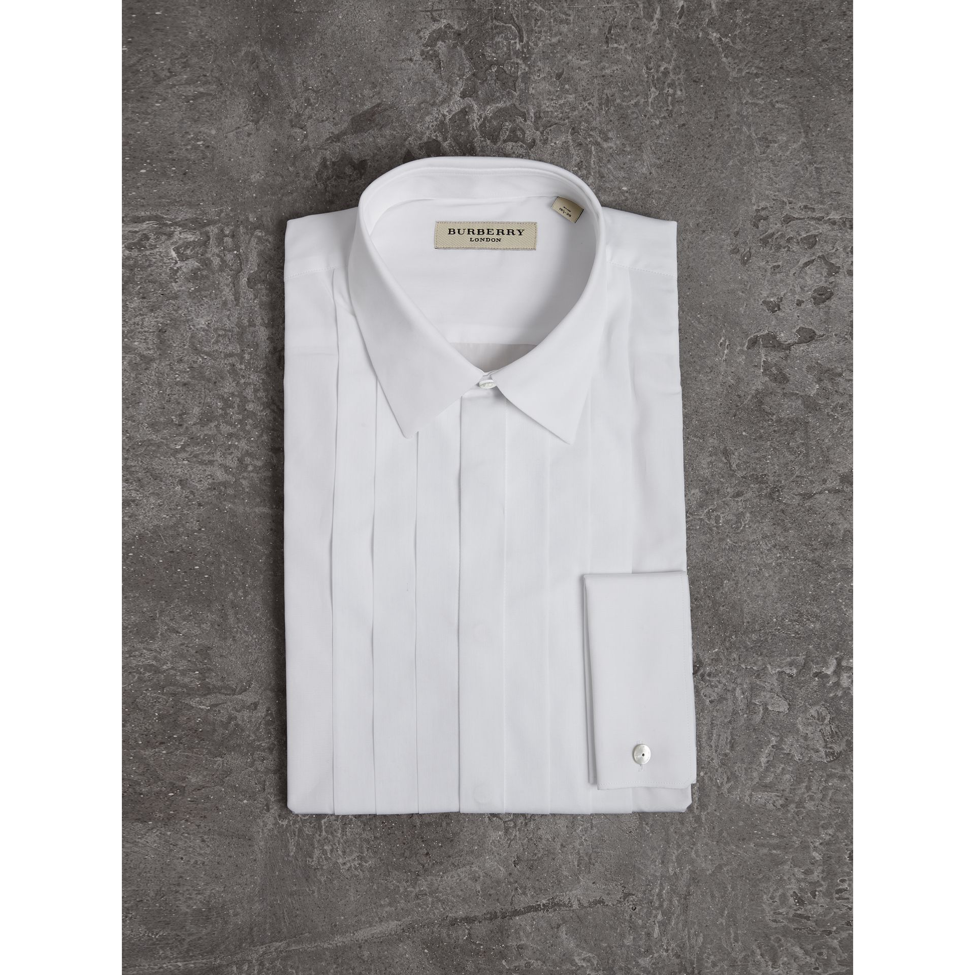 Slim Fit Cotton Poplin Dress Shirt in White - Men | Burberry - gallery image 3