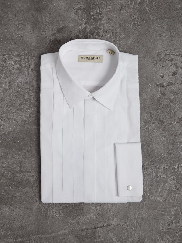 Slim Fit Cotton Poplin Dress Shirt in White - Men | Burberry Singapore - cell image 3
