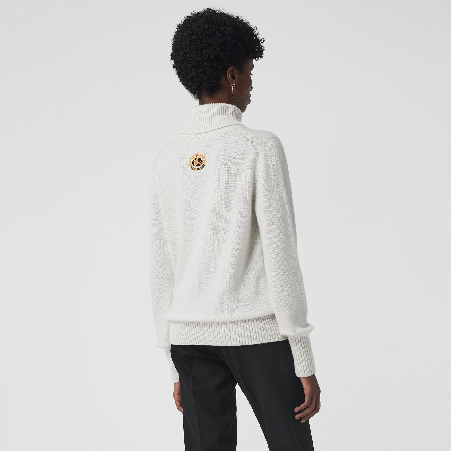 Embroidered Crest Cashmere Roll-neck Sweater in White - Women | Burberry United Kingdom - gallery image 2