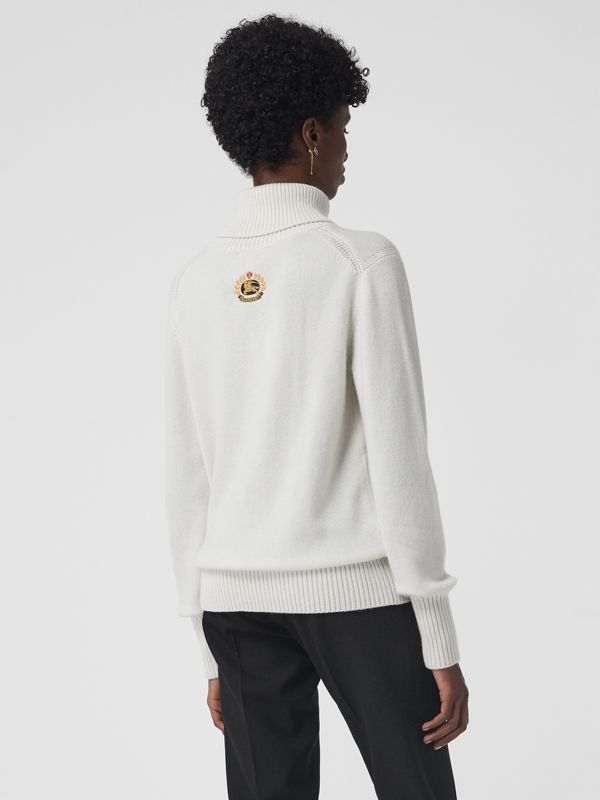 Embroidered Crest Cashmere Roll-neck Sweater in White - Women | Burberry Australia - cell image 2