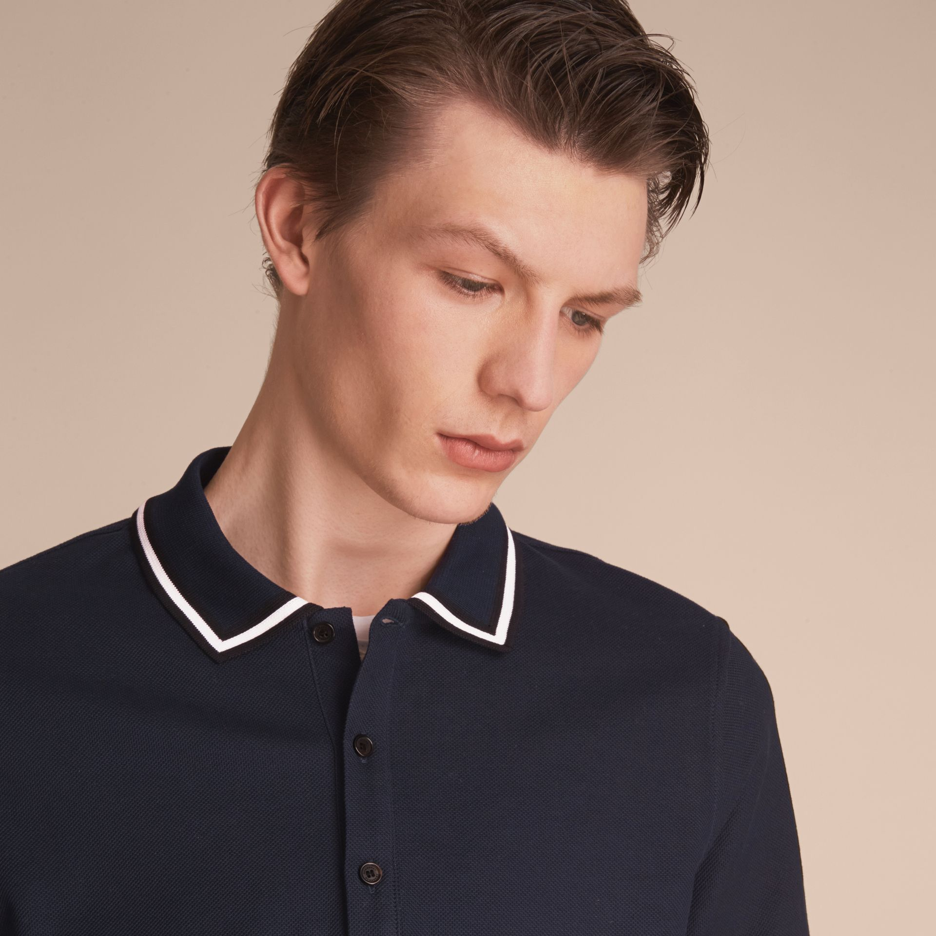 Striped Collar Cotton Piqué Polo Shirt in Navy - Men | Burberry - gallery image 5