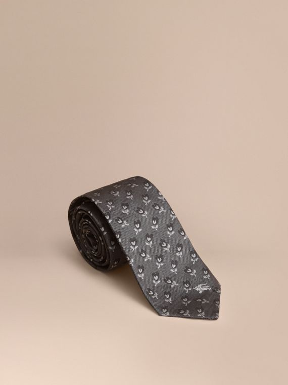Modern Cut Floral Silk Jacquard Tie in Steel