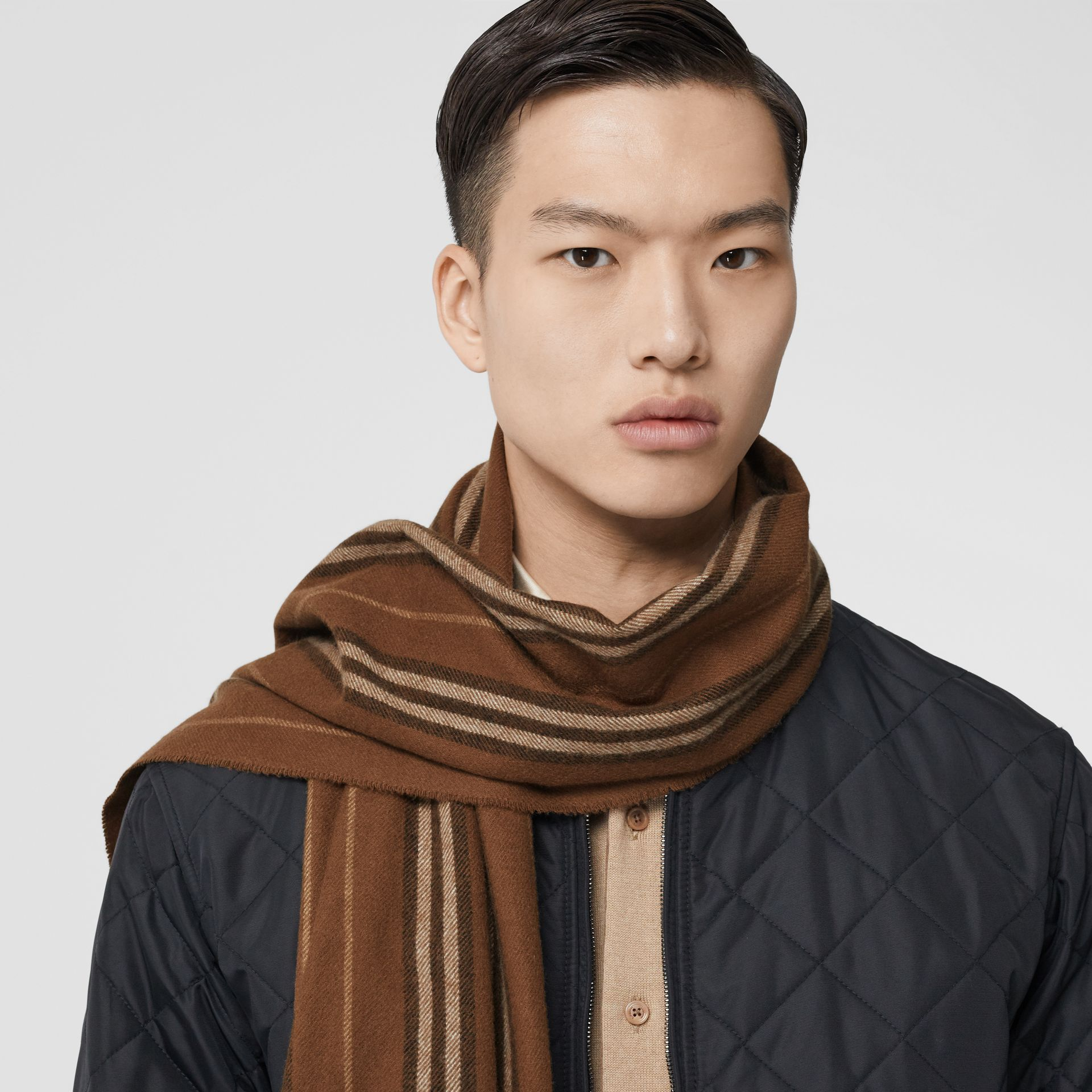 Icon Stripe Cashmere Scarf in Dark Chestnut Brown | Burberry - gallery image 3
