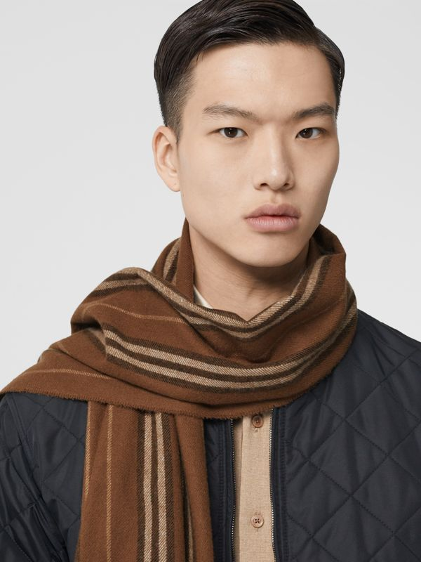 Icon Stripe Cashmere Scarf in Dark Chestnut Brown | Burberry - cell image 3