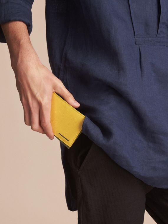 London Leather Slim Folding Wallet in Bright Citrus | Burberry Singapore - cell image 2