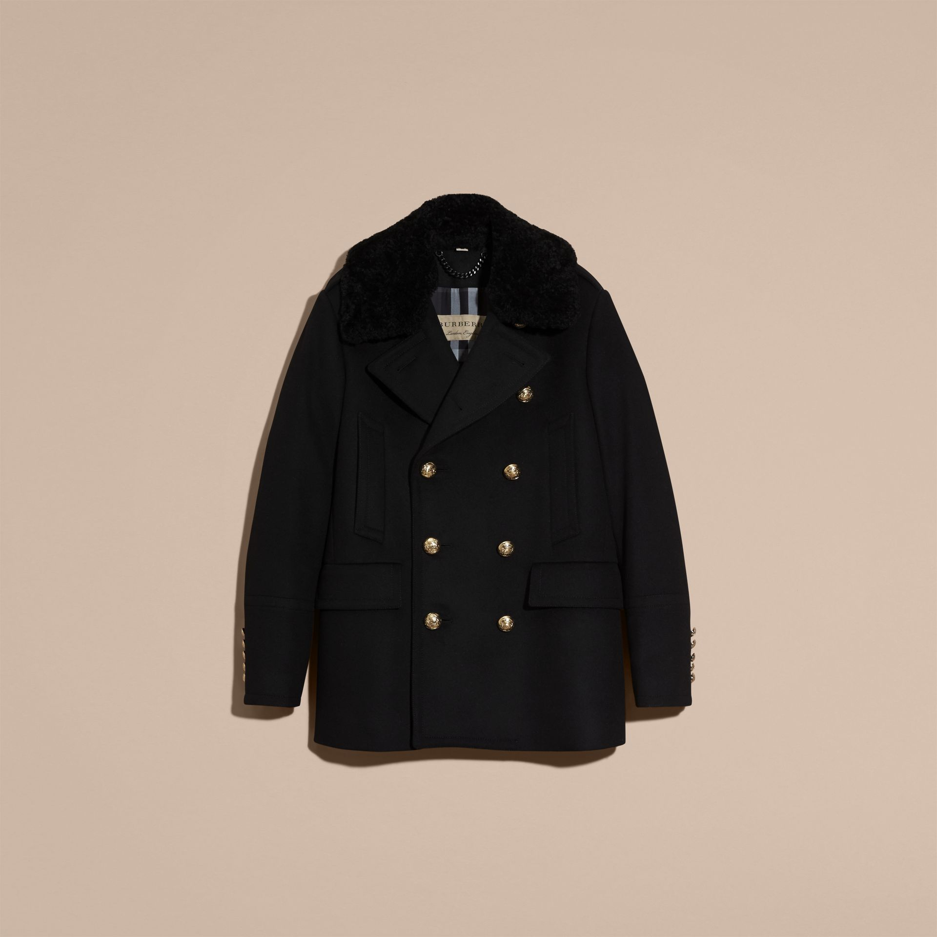 Black Military Pea Coat with Detachable Shearling Collar - gallery image 4