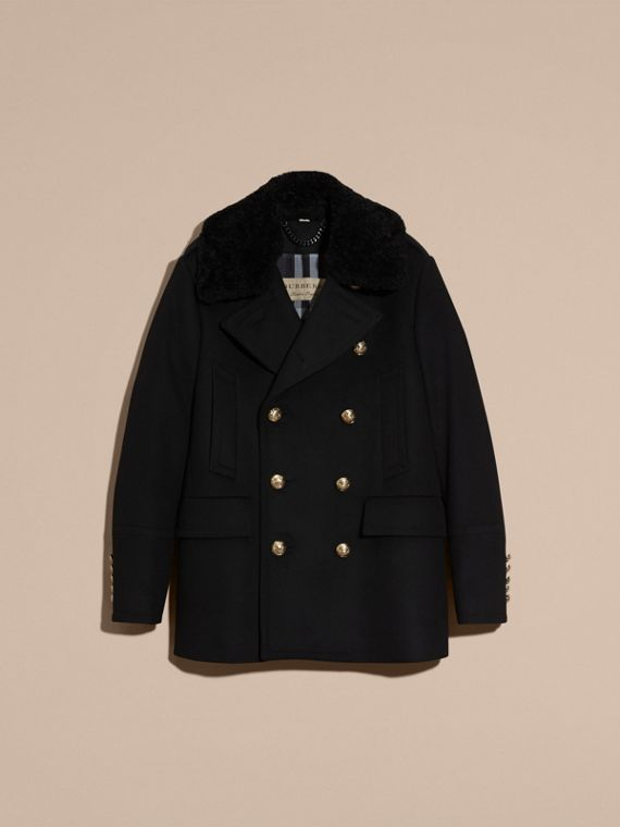 Black Military Pea Coat with Detachable Shearling Collar - cell image 3